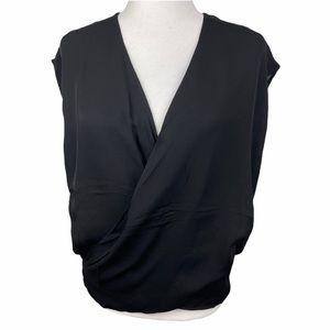 Heather 100% Silk Black Faux Wrap Blouse M